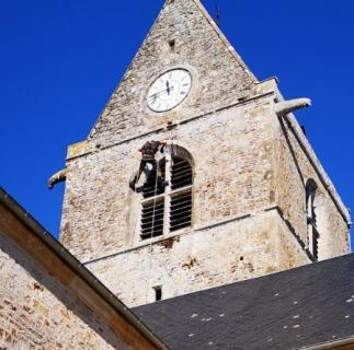 Nettoyage  de lierre sur clocher  d'église a Nehou dans la Manche